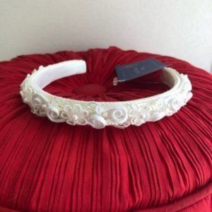 Silk & Lace VINTAGE Bridal White Floral Headband